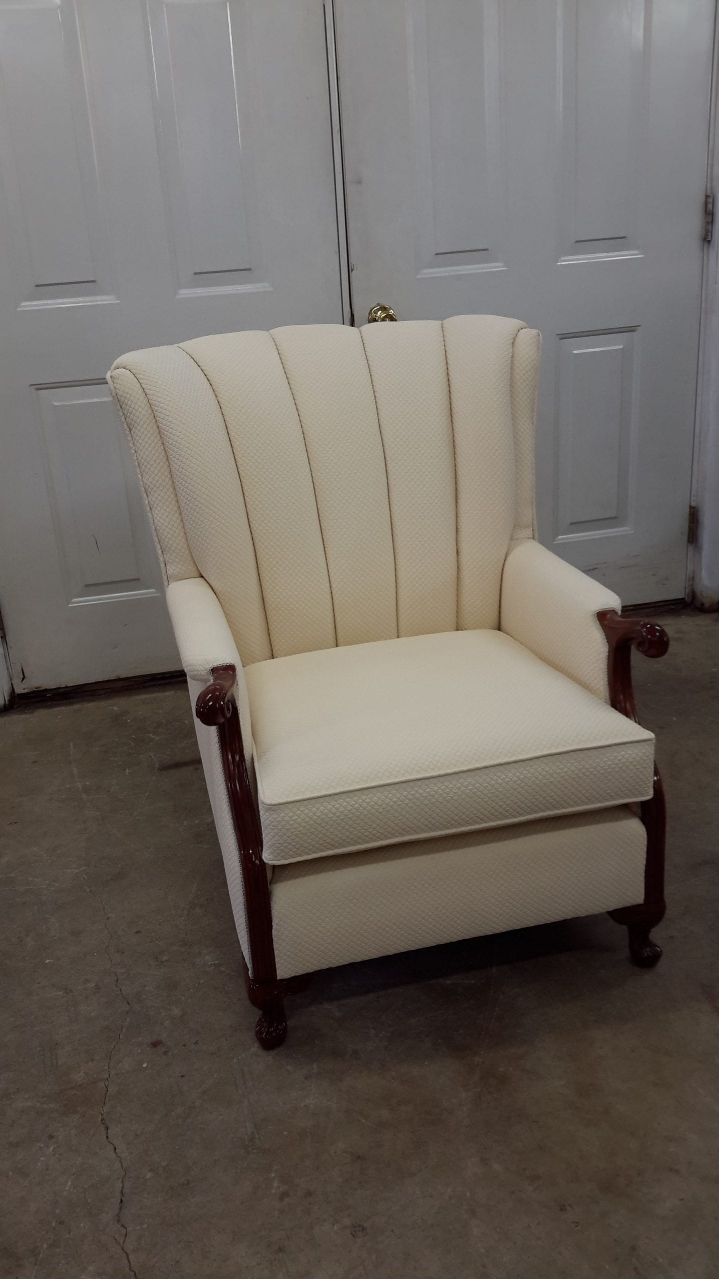 White Channel Back Chair Upholstery Antique Restoration