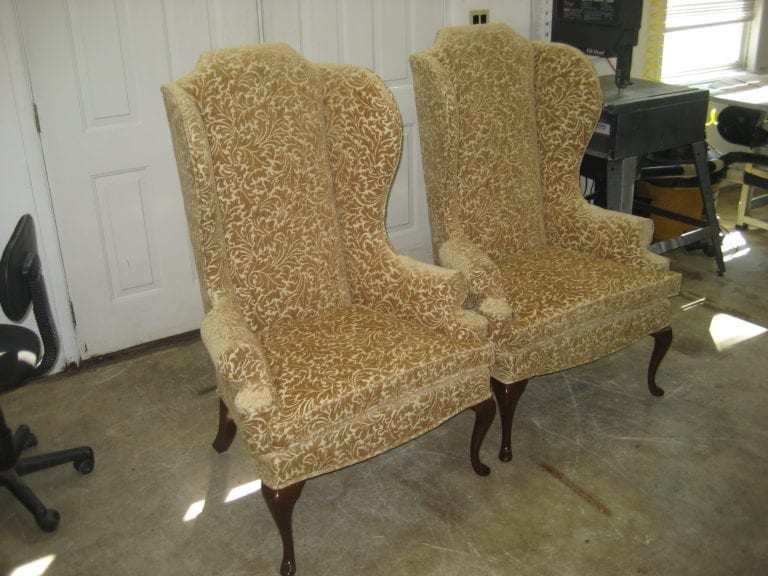 Wingback Chair With Velour Fabric