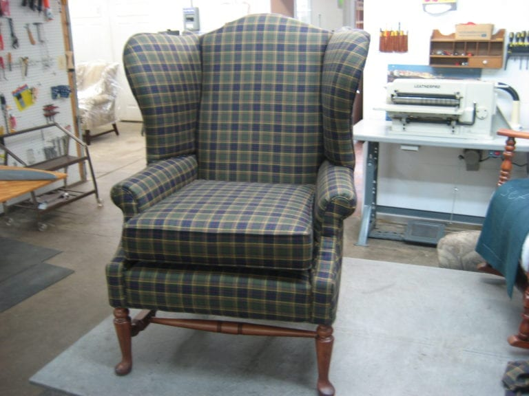 Wingback Chair With Plaid Fabric Replacement