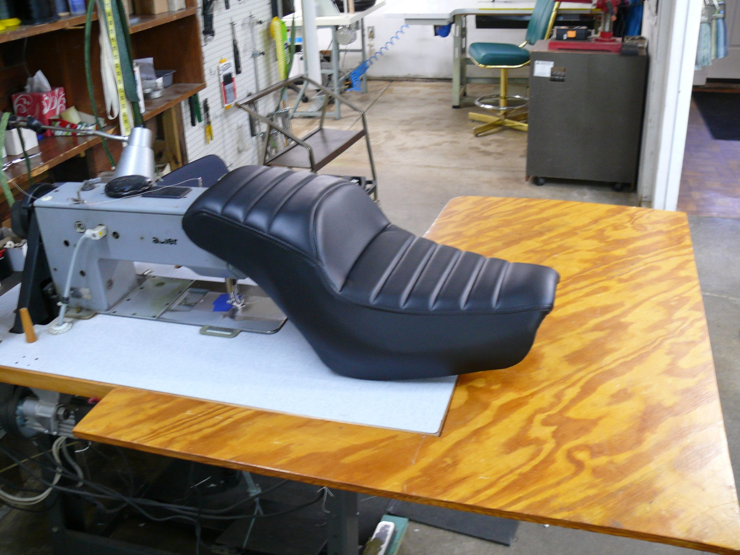 Custom Upholstery For a Motorcycle Black Vinyl Seat