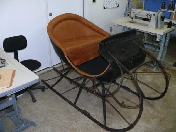 Antique Sleigh Completely Restored and Reupholstered with Leather