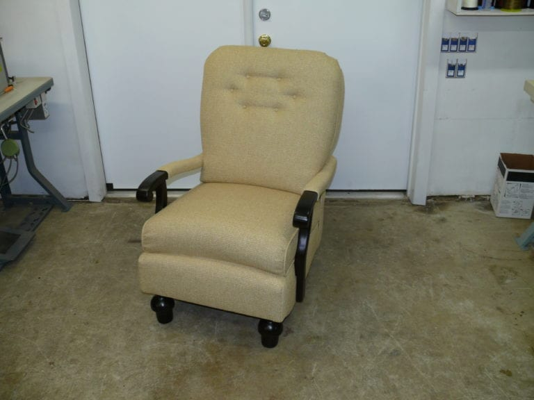 Antique recliner chair with wood mechanism