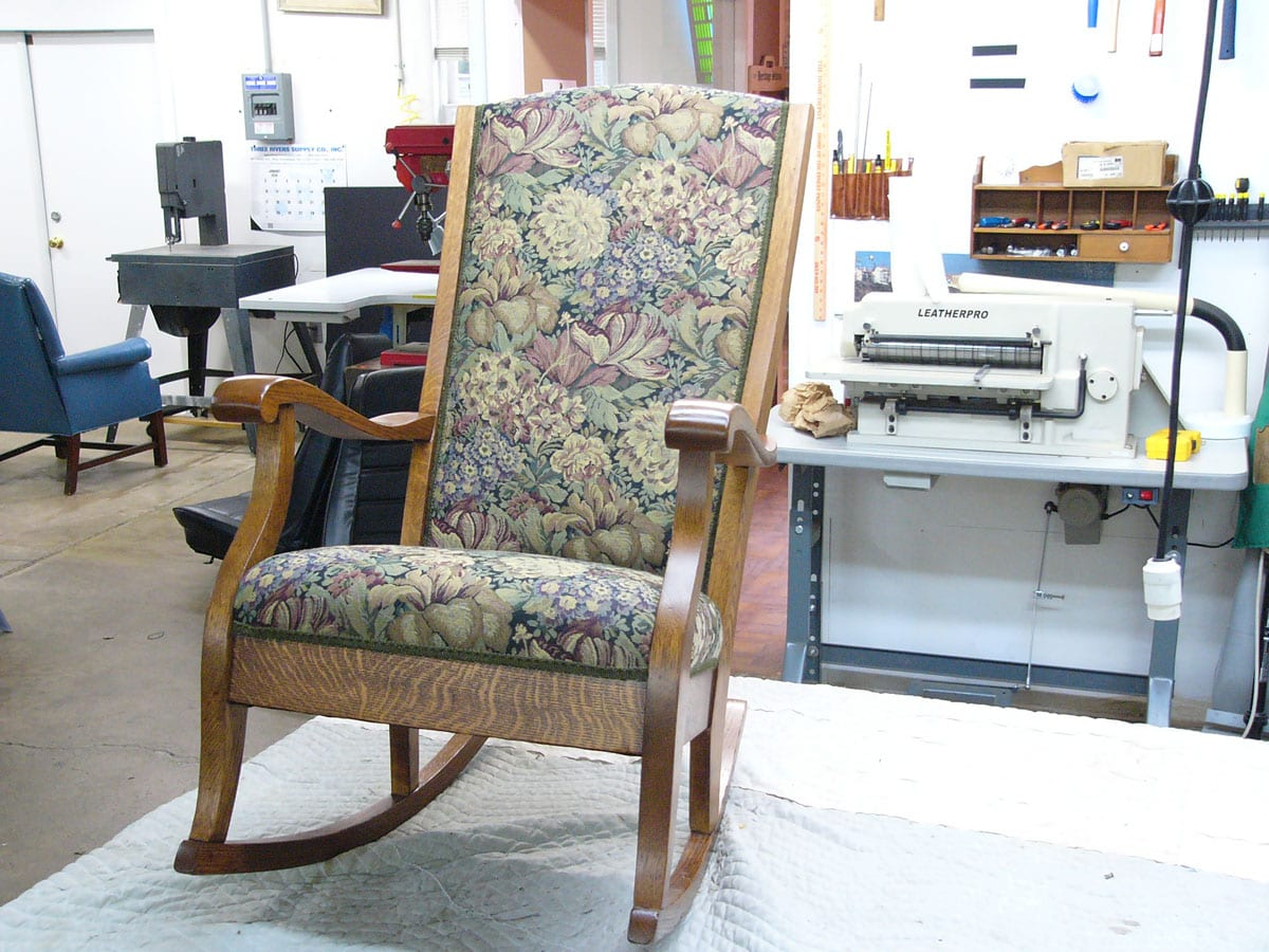 Project Details. Colonial style antique rocking chair ... - Antique Rocking Chair - Upholstery Shop - Quality Reupholstery