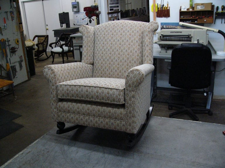 Antique Wingback Rocker Upholstery