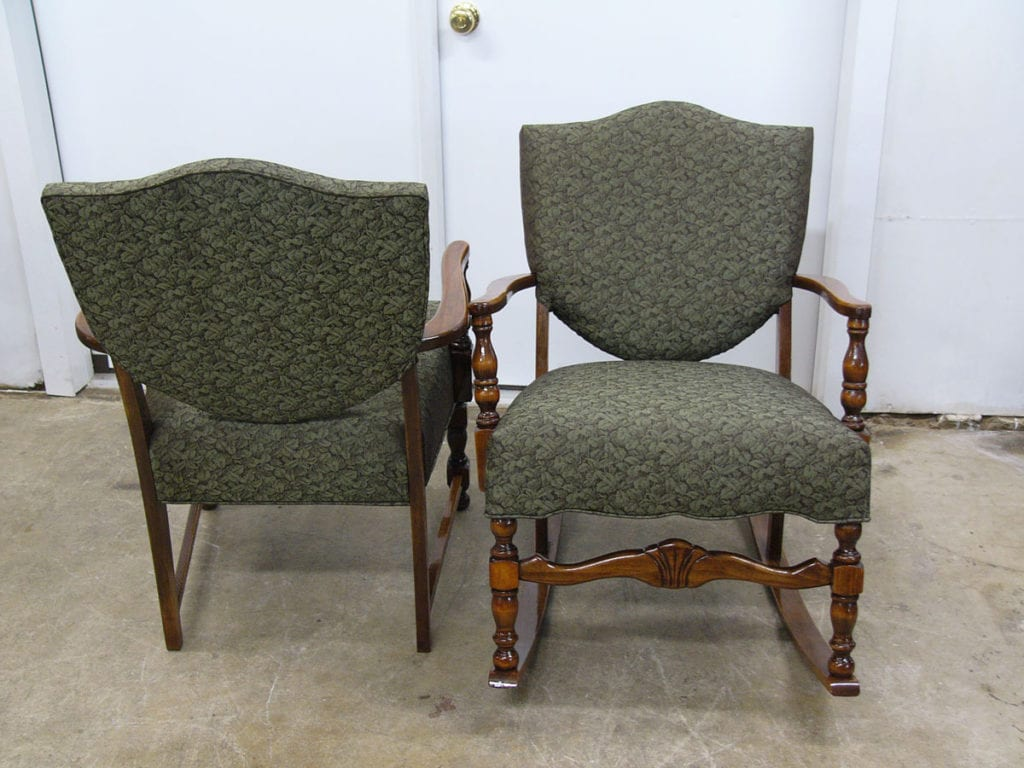 Two Colonial Style Antique Chairs Restoration Upholstery