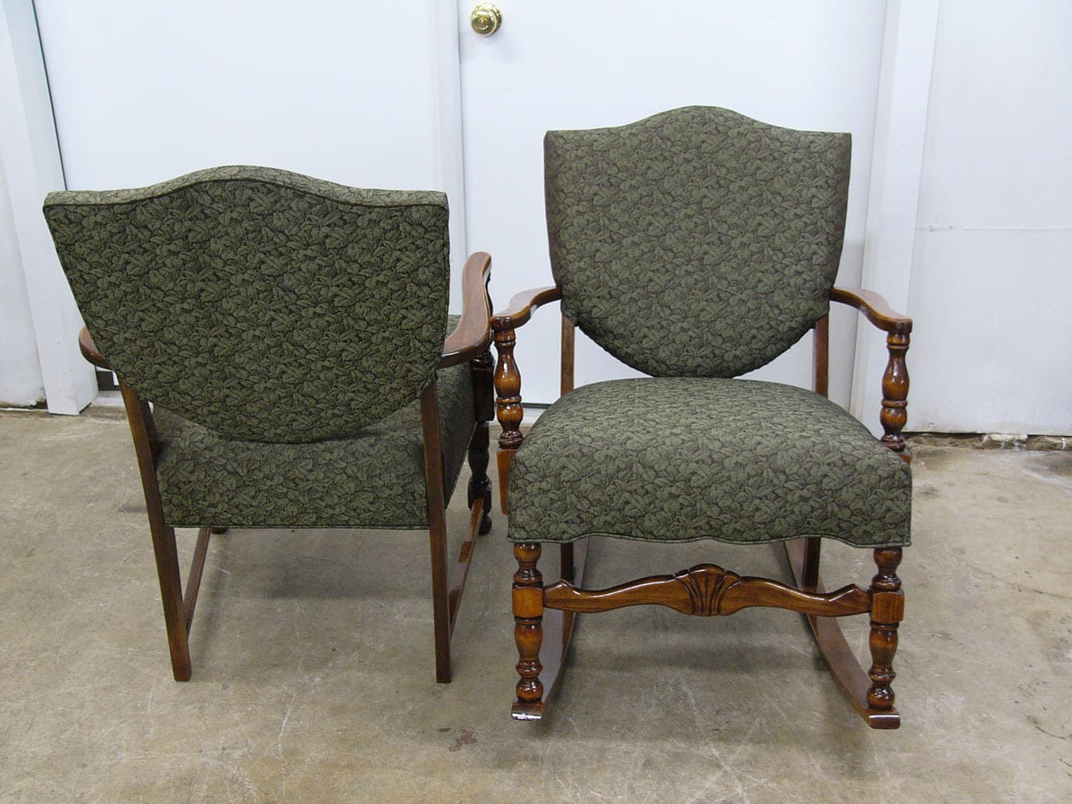 Two Colonial Style Antique Chairs Restoration Upholstery Shop