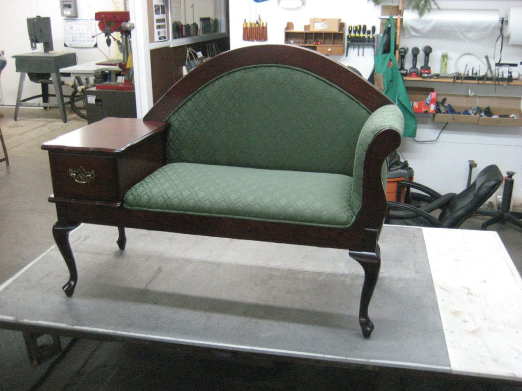 Gossip Bench Frame Upholstered By Request Of Amish