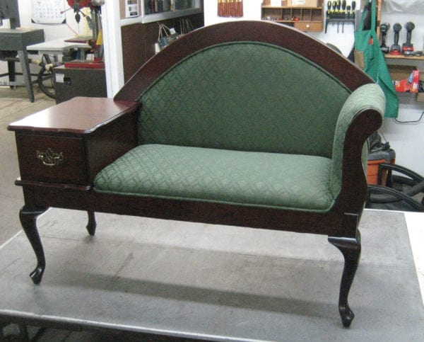 Gossip Bench Frame Upholstered By Request of Amish Woodshop