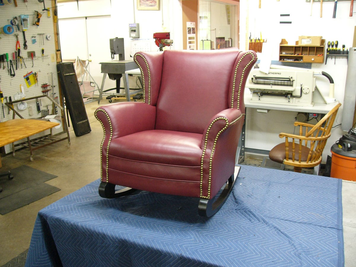 Strange An Antique Wingback Rocking Chair Upholstery Shop Customarchery Wood Chair Design Ideas Customarcherynet