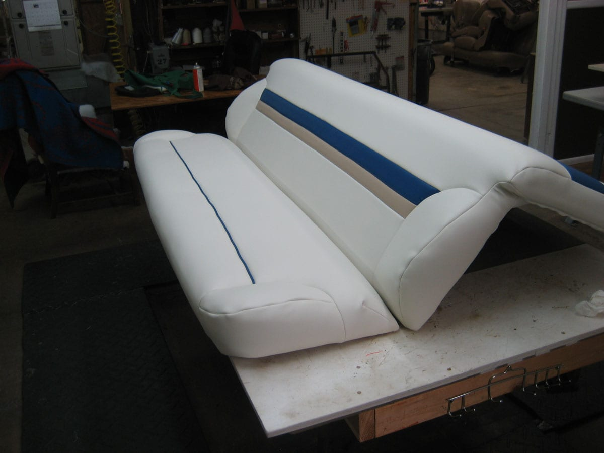 Fishing Boat Upholstery Repair For Its Bench Seat Upholstery Shop Quality Reupholstery
