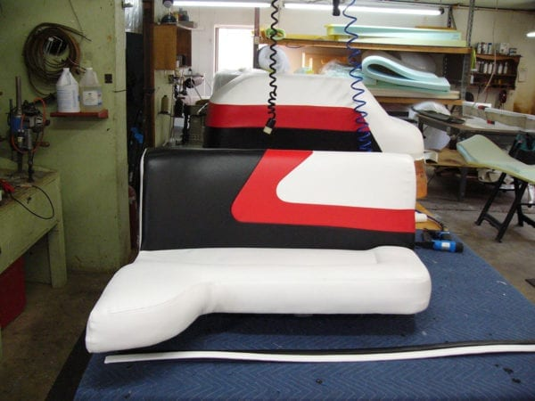 A Mastercraft Boat New Upholstery For Its Seats and Kick Panel