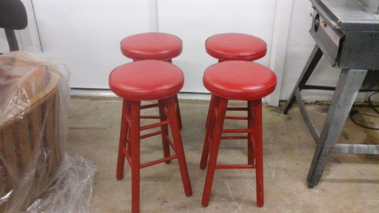 Repair and Upholstery For Red Bar Stools