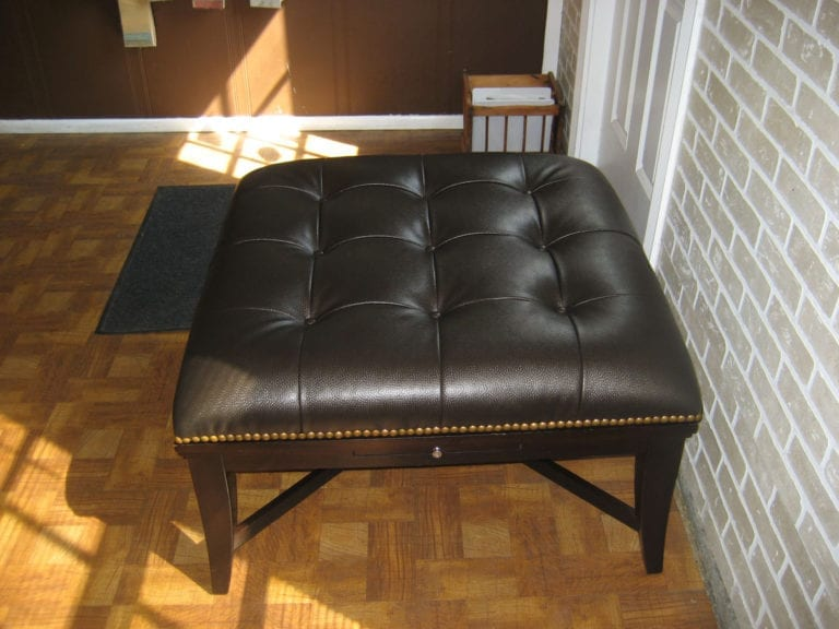 Wrapping Leather Ottoman
