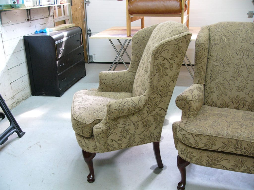 Full Reupholstery For Two Wing-Backed Chairs