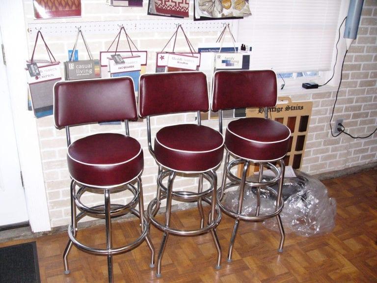Three Swivel Bar Stools Upholstery