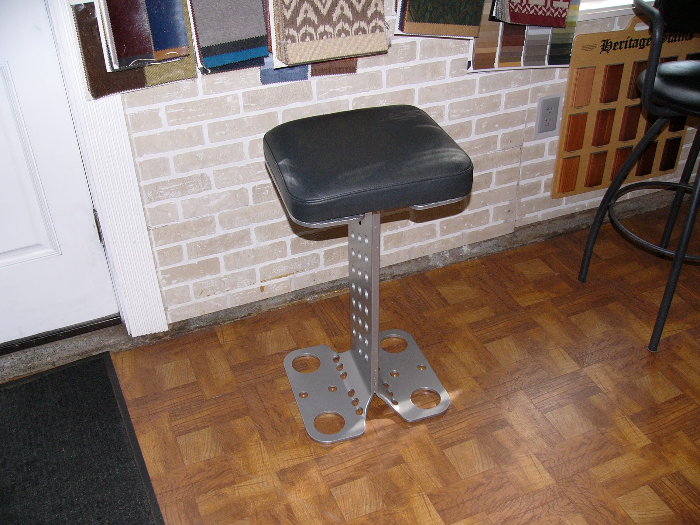 Custom Made Metal Bar Stool With Leather Top Upholstery