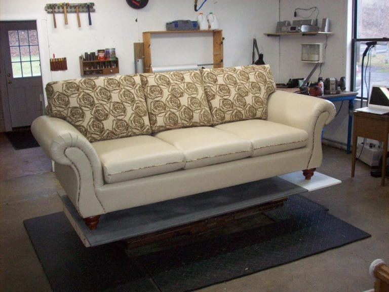 Living Room Leather and Fabric Mix Upholstery Design