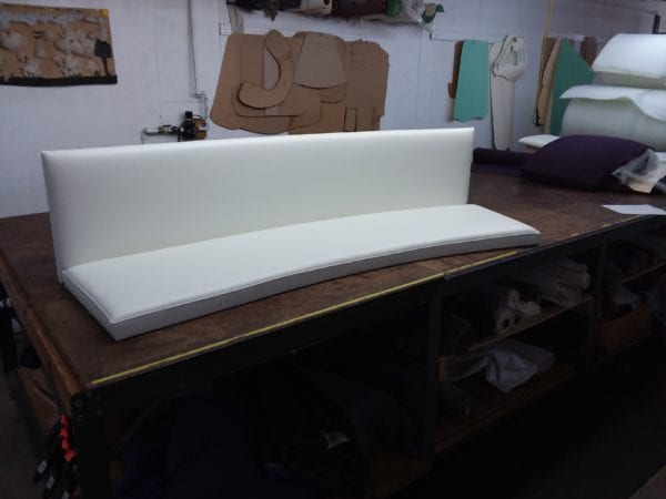 Custom curved cushion for restaurant booth