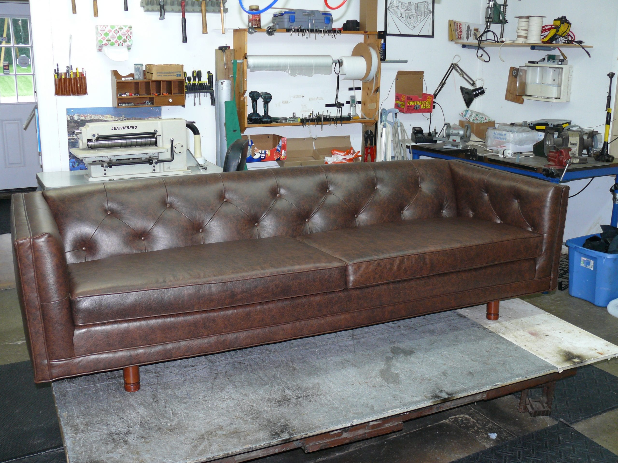 Mid Century 92 Leather Sofa Upholstery Shop Quality
