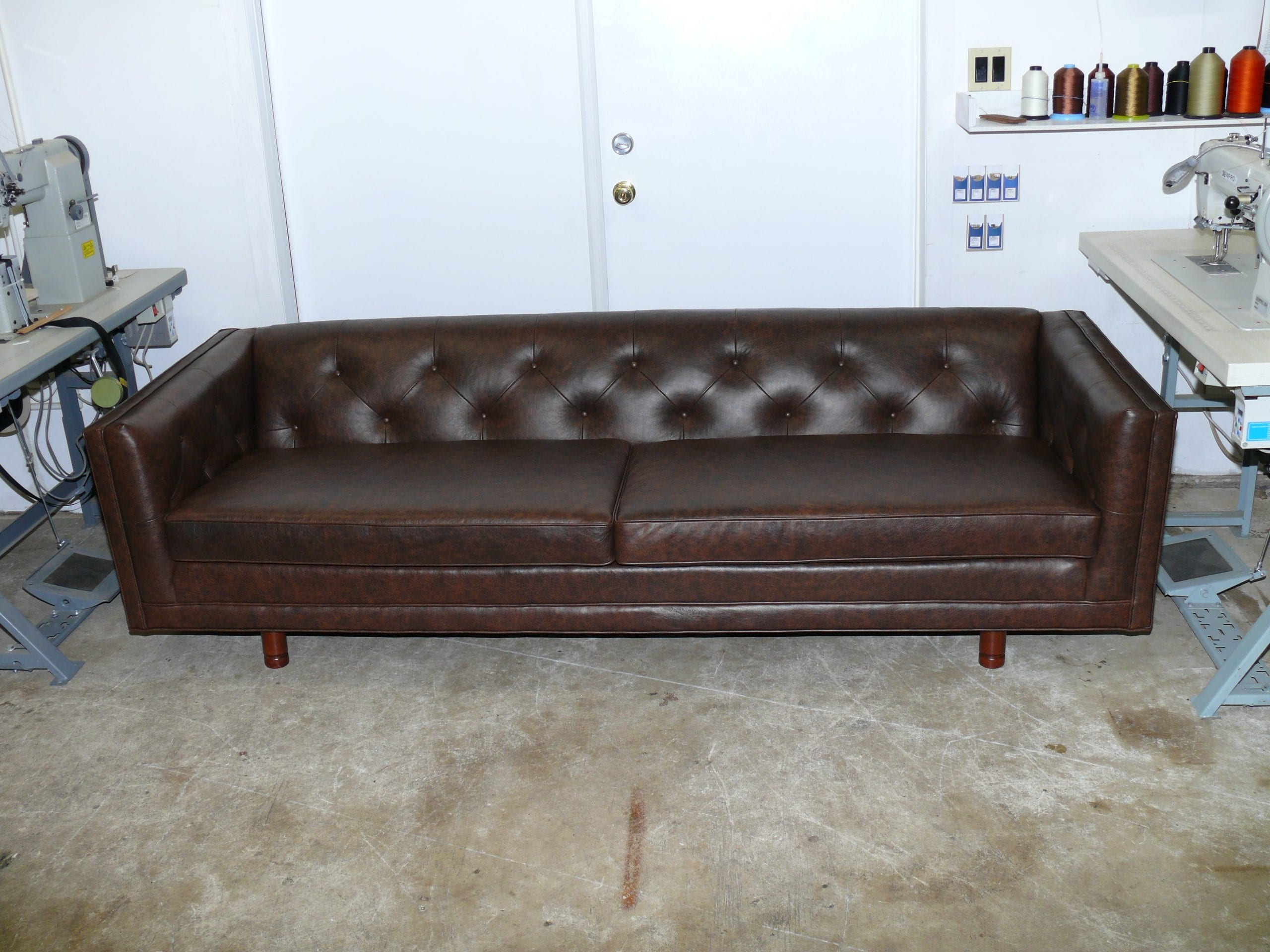 Mid Century 92\'\' leather sofa - Upholstery Shop - Quality ...